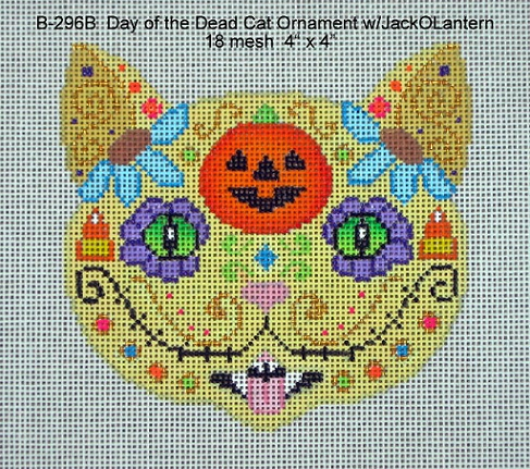 click here to view larger image of Day of the Dead Cat Ornament With Jack O Lantern (hand painted canvases)