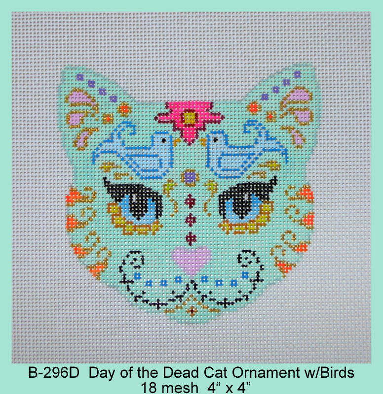 click here to view larger image of Day of the Dead Cat Ornament With Birds (hand painted canvases)