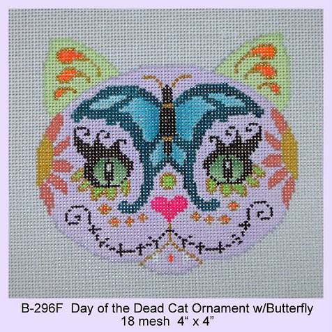 click here to view larger image of Day of the Dead Cat Ornament With Butterfly (hand painted canvases)