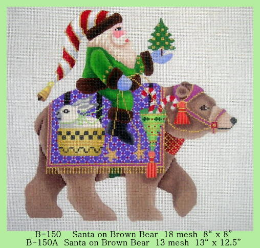click here to view larger image of Santa on Brown Bear - 13ct (hand painted canvases)