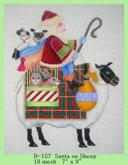 click here to view larger image of Santa on Sheep (hand painted canvases)
