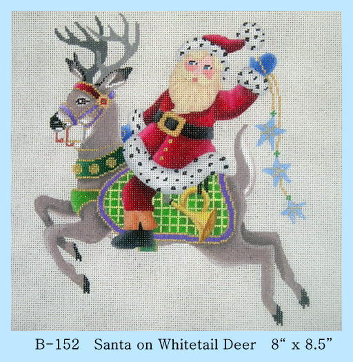 click here to view larger image of Santa on Whitetail Deer (hand painted canvases)