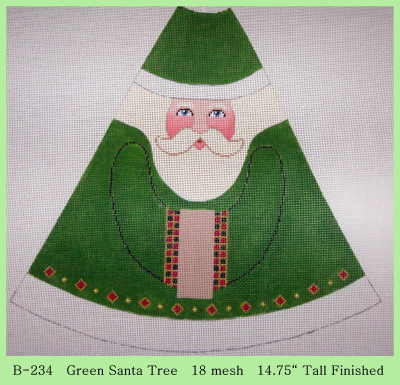 click here to view larger image of Green Santa Tree (hand painted canvases)