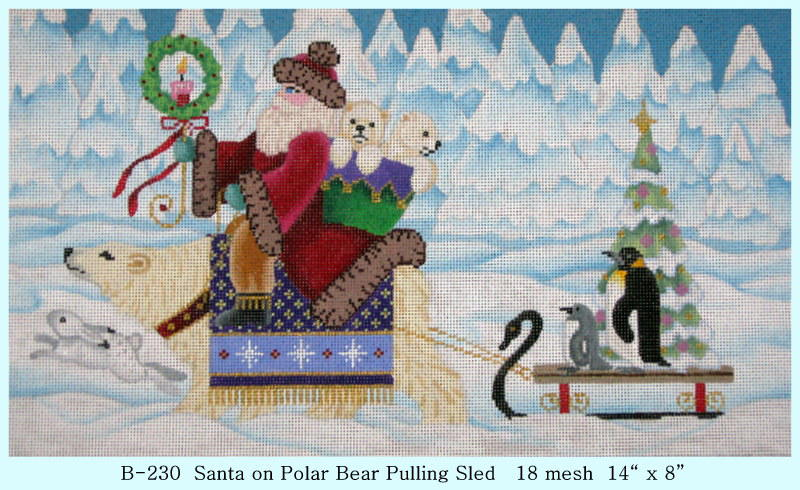 click here to view larger image of Santa on Polar Bear Pulling Sled (hand painted canvases)