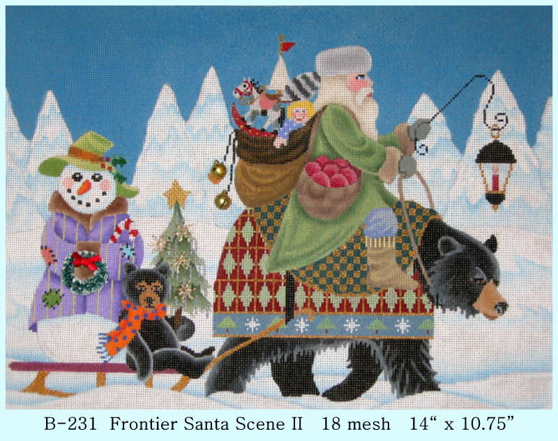 click here to view larger image of Frontier Santa Scene 2 (hand painted canvases)