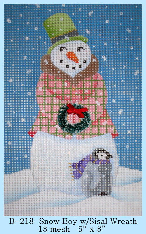 click here to view larger image of Snow Boy With Sisal Wreath (hand painted canvases)