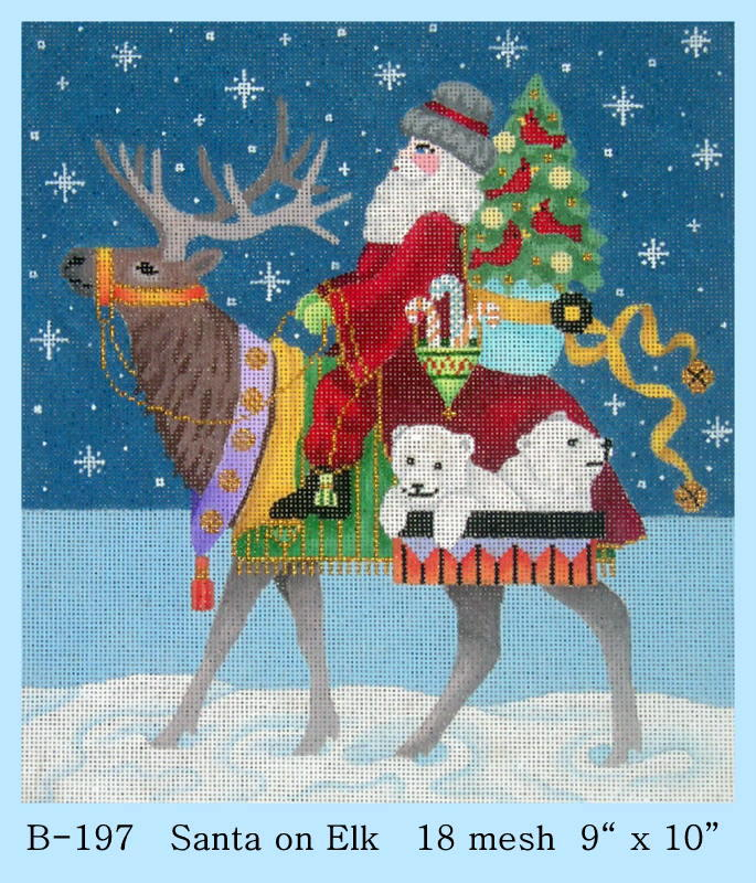click here to view larger image of Santa on Elk (hand painted canvases)