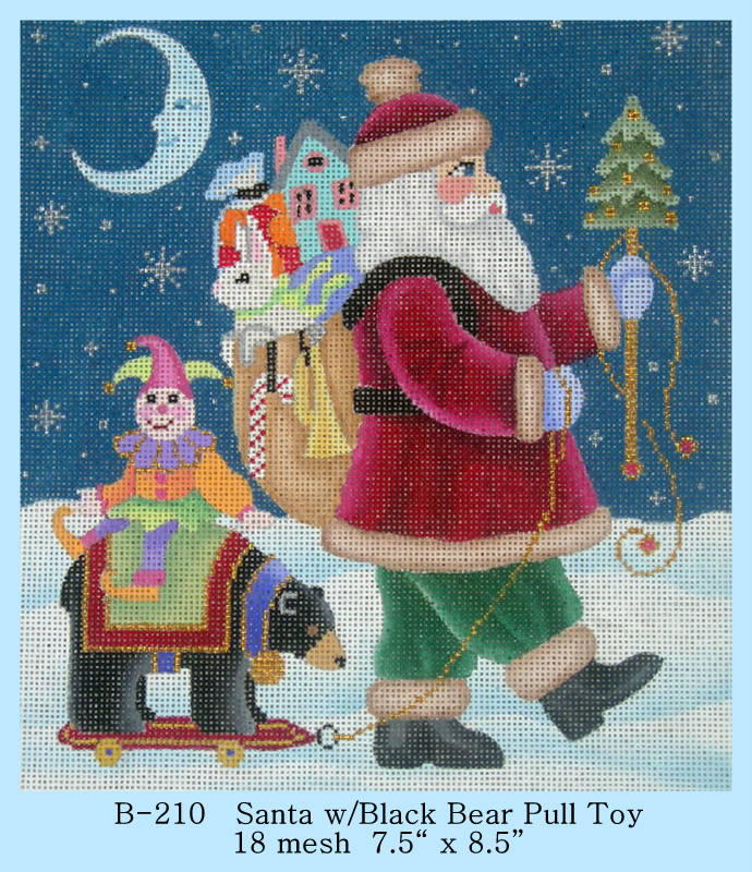 click here to view larger image of Santa with Black Bear Pull Toy (hand painted canvases)