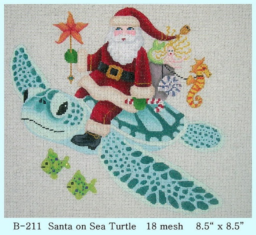 click here to view larger image of Santa on Sea Turtle (hand painted canvases)