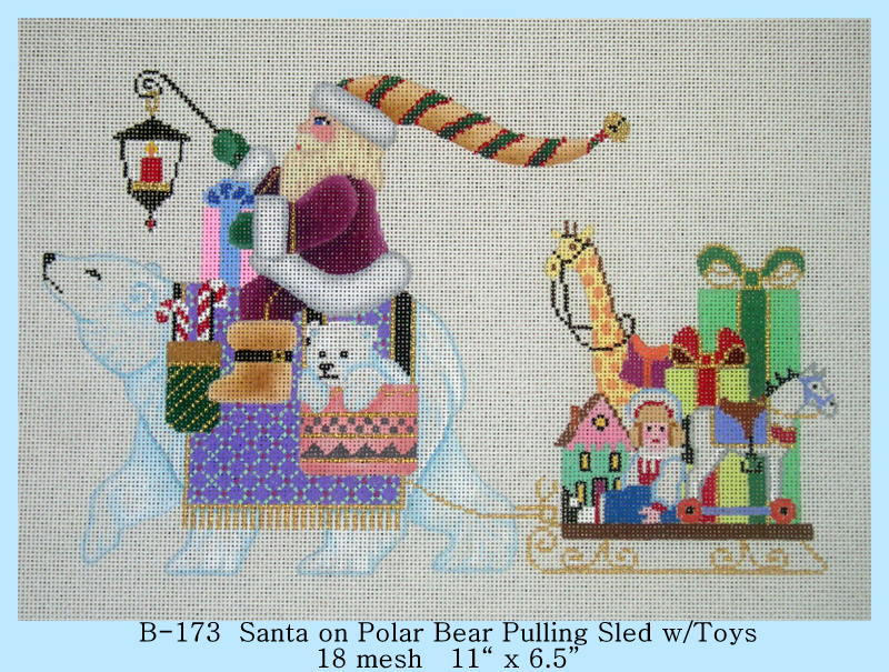 click here to view larger image of Santa on Polar Bear Pulling Sled with Toys (hand painted canvases)