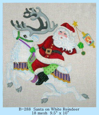 click here to view larger image of Santa on White Reindeer (hand painted canvases)