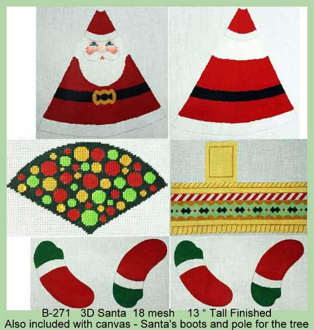 click here to view larger image of 3D Santa (hand painted canvases)
