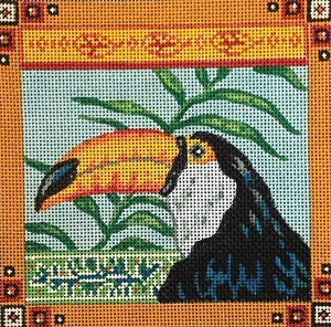 click here to view larger image of Toco Toucan and Ferns - 13ct (hand painted canvases)