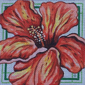 click here to view larger image of Red Hibiscus - 13ct (hand painted canvases)