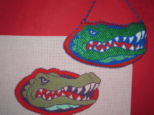 click here to view larger image of Gator Ornament (hand painted canvases)
