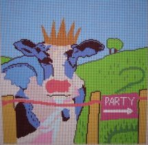 click here to view larger image of Party Cow (hand painted canvases)