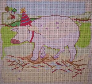 click here to view larger image of Party Pig (hand painted canvases)