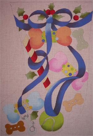 click here to view larger image of Dog Leash and Toys Stocking (hand painted canvases)