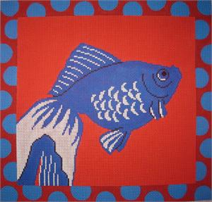 click here to view larger image of Blue Fish With Coral Background (hand painted canvases)
