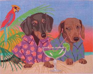 click here to view larger image of Hot Dogs In Paradise (hand painted canvases)