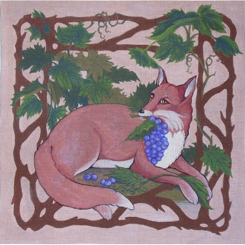 click here to view larger image of Fox and Grapes (hand painted canvases)