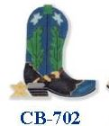 click here to view larger image of Teal Boot With Spur (hand painted canvases)