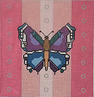 click here to view larger image of Butterfly - Pink Background (hand painted canvases)
