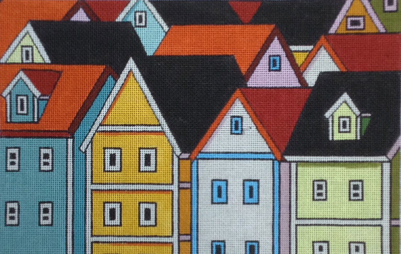 click here to view larger image of Tall Town (hand painted canvases)
