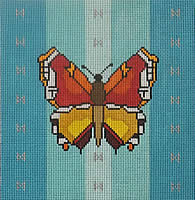 click here to view larger image of Butterfly - Blue Background (hand painted canvases)