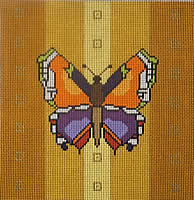 click here to view larger image of Butterfly - Gold Background (hand painted canvases)
