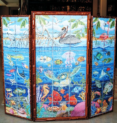 click here to view larger image of Fire Screen - Aquatic Animals - Pelican Center Panel (middle) (hand painted canvases)