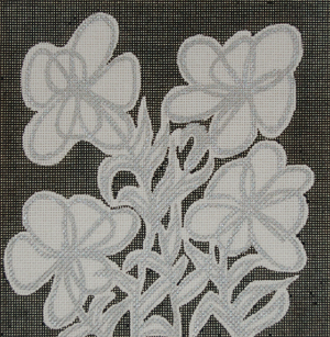 click here to view larger image of Floral Lam Black (hand painted canvases)