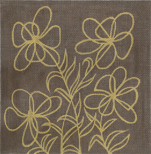 click here to view larger image of Floral Lam Brown (hand painted canvases)