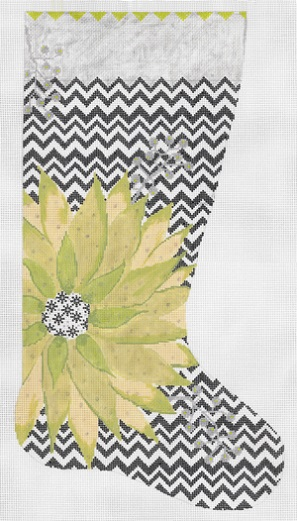 click here to view larger image of Green Poinsettia Stocking (hand painted canvases)