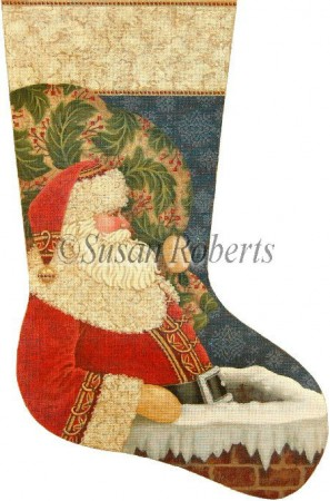 click here to view larger image of Chimney Santa Stocking (hand painted canvases)