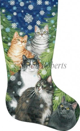 click here to view larger image of Cats and Snowflakes Stocking (hand painted canvases)