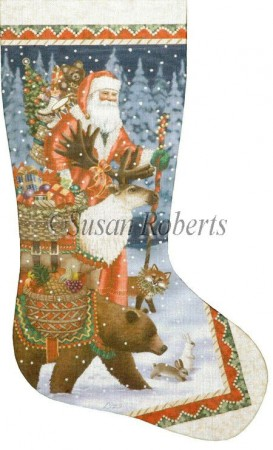 click here to view larger image of Christmas Offerings Stocking (hand painted canvases)