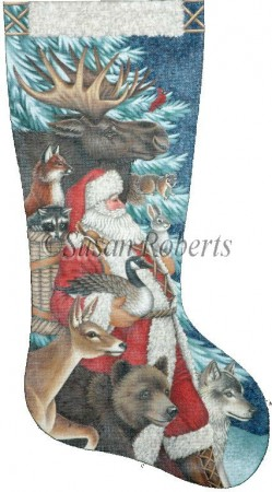 click here to view larger image of Woodland Christmas Stocking - 18ct (hand painted canvases)