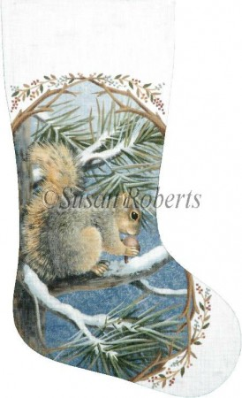 click here to view larger image of Squirrel Stocking (hand painted canvases)