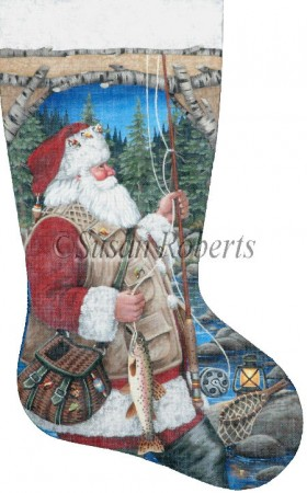 click here to view larger image of Santa Fly Fishing Stocking - 13ct (hand painted canvases)