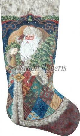 click here to view larger image of Patchwork Santa Stocking (hand painted canvases)