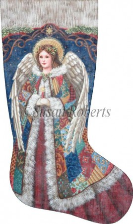 click here to view larger image of Patchwork Angel Stocking (hand painted canvases)