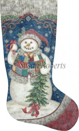 click here to view larger image of Patchwork Snowman Stocking (hand painted canvases)
