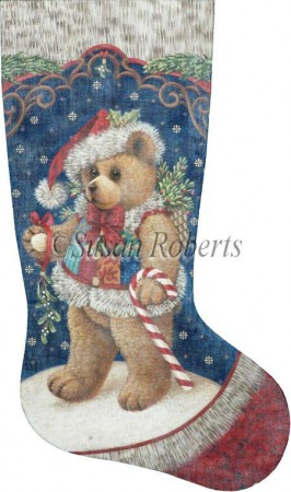 click here to view larger image of Patchwork Teddy Stocking - 13ct (hand painted canvases)
