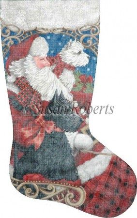 click here to view larger image of Westie and Scottie Sleigh Ride Stocking (hand painted canvases)