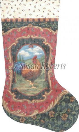 click here to view larger image of Rooster Stocking (hand painted canvases)