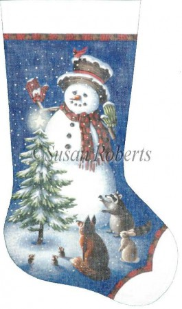 click here to view larger image of Snowman Christmas Stocking (hand painted canvases)