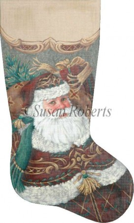 click here to view larger image of Burgundy Santa Stocking (hand painted canvases)