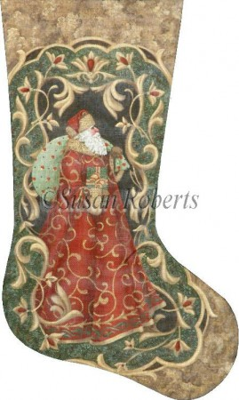 click here to view larger image of Vintage Santa Stocking (hand painted canvases)