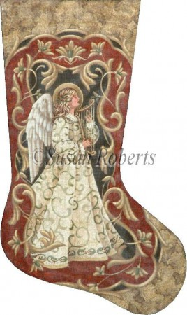click here to view larger image of Vintage Angel Stocking (hand painted canvases)